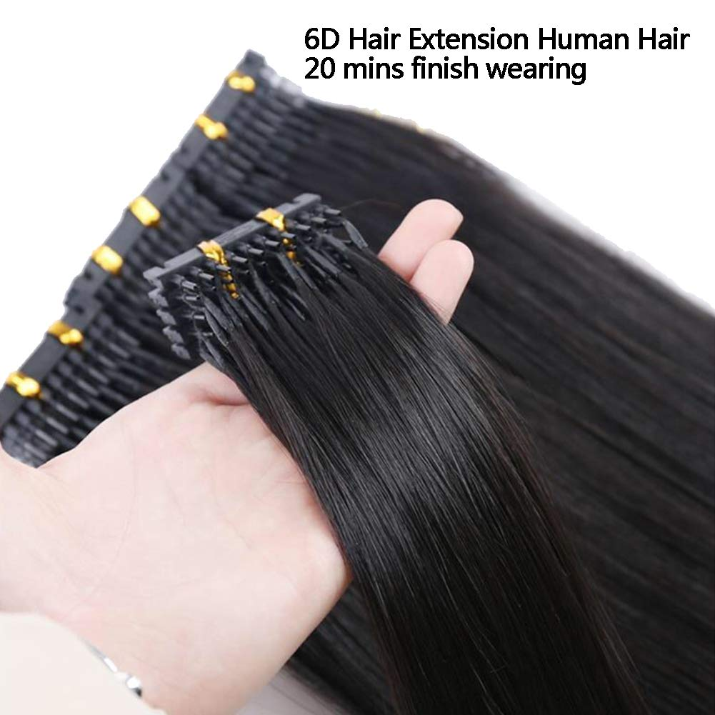 6D Hair Extensions Machine Human Hair for Connection Hair Connection Buckle Clip Fastest No Trace Hair Extension in Salon Equipment,Black,A28inches
