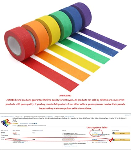 Rainbow Masking Tape Labeling Tape 7-Color Colored Masking Tape Office Supplies Home Decoration Assorted Color Coded /& Kids DIY Art Supplies