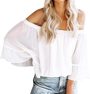 Elyseesen - Camisa de Manga con Volantes de Muselina de Seda, Blusas con Hombros Descubiertos, para Mujer Blanco 34/S: Amazon.es: Ropa y accesorios