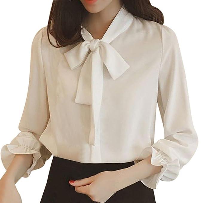 best service c0a0e 839c7 ALIKEEY Camicia da Donna in Chiffon di Pizzo con Fiocco Sciolto A Maniche  Lunghe, Estate E Autunno