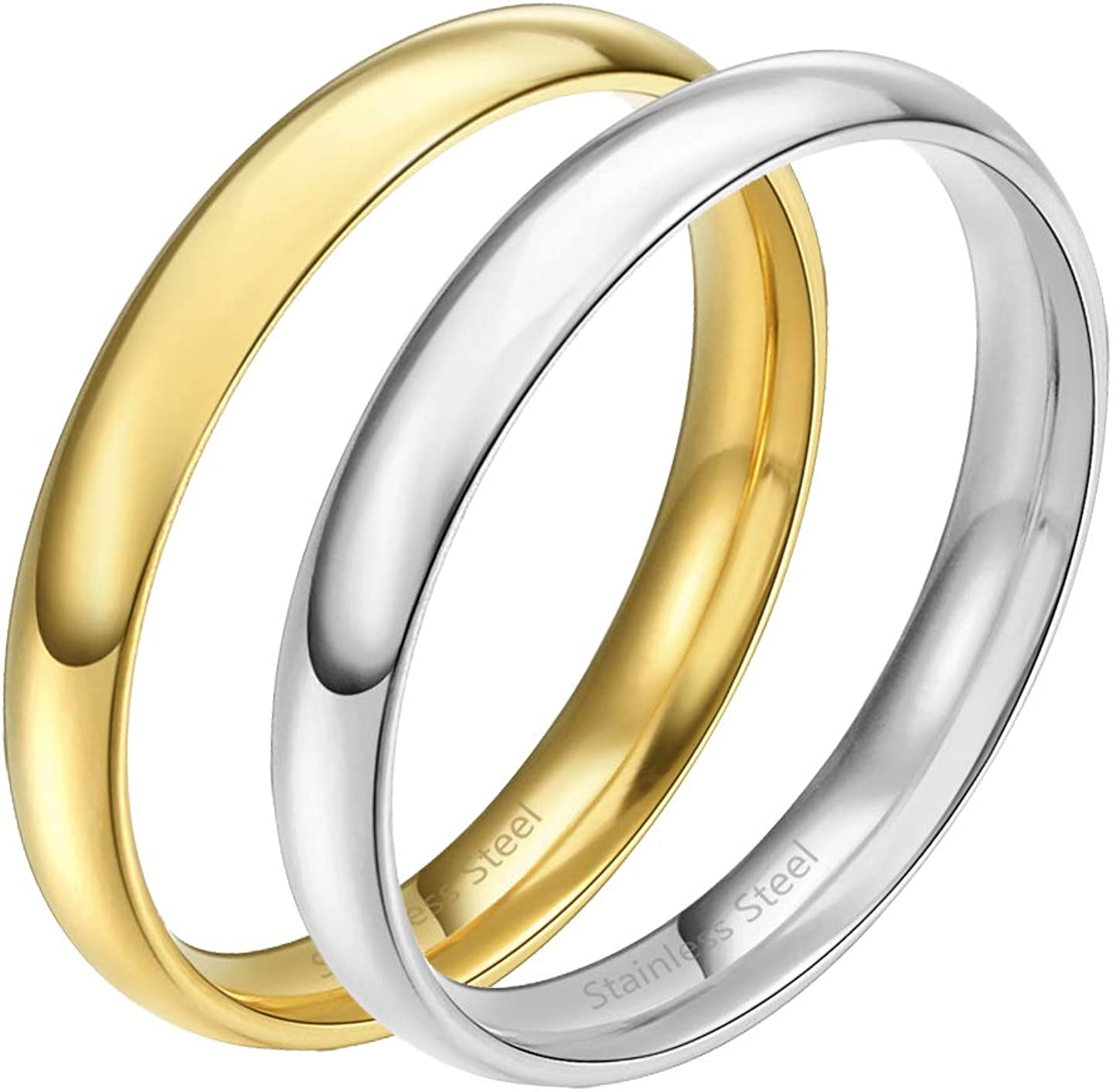 3mm Lavencious Comfort Fit Stainless Steel Gold /& Silver Wedding Band Set