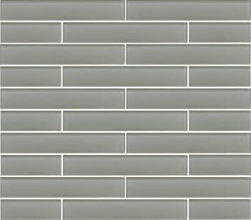 2 X 12 Sample Piece Pearl Grey 2x12 Glass Subway Tiles