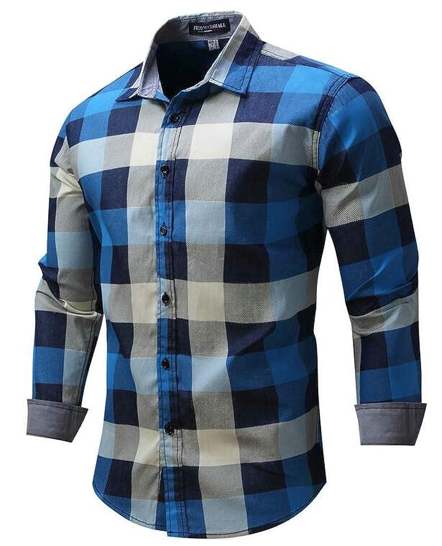 Hajotrawa Mens Lapel Plaid Button Down Long-Sleeve Loose Shirt