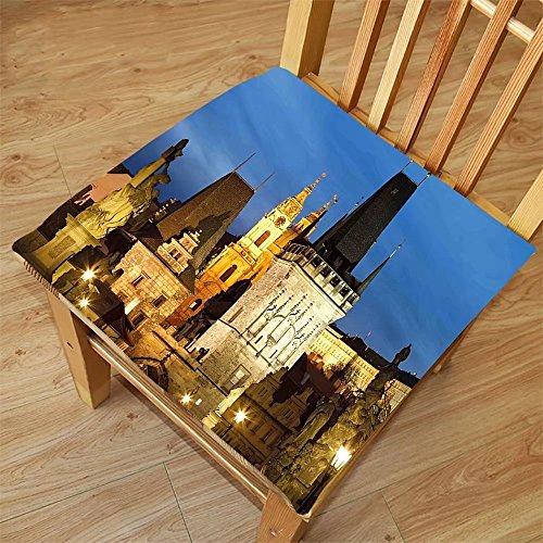 Nalahome Set of 2 Waterproof Cozy Seat Protector Cushion European Charles Bridge Tower St. Nicholas Church Dusk Czech Repuclic Prague Architecture Multicolor Printing Size - Prague Sunglasses