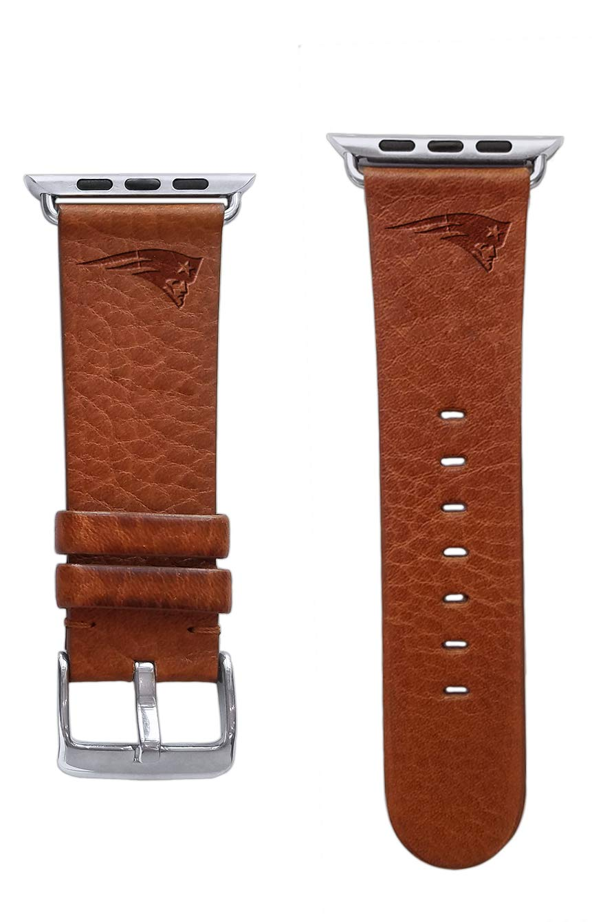 Game Time New England Patriots Tan Leather Band Compatible with Apple Watch - 42mm/44mm Short by Game Time