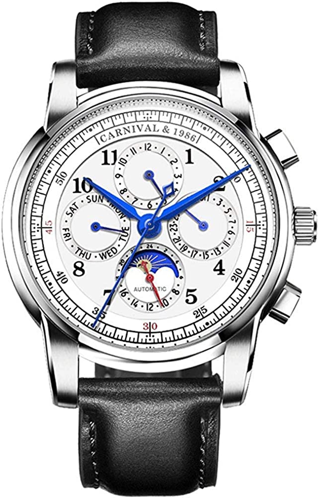 Men s Automatic Mechanical Watch Date Moon Phase 24-Hour Indication Calfskin Leather Transparent Watches