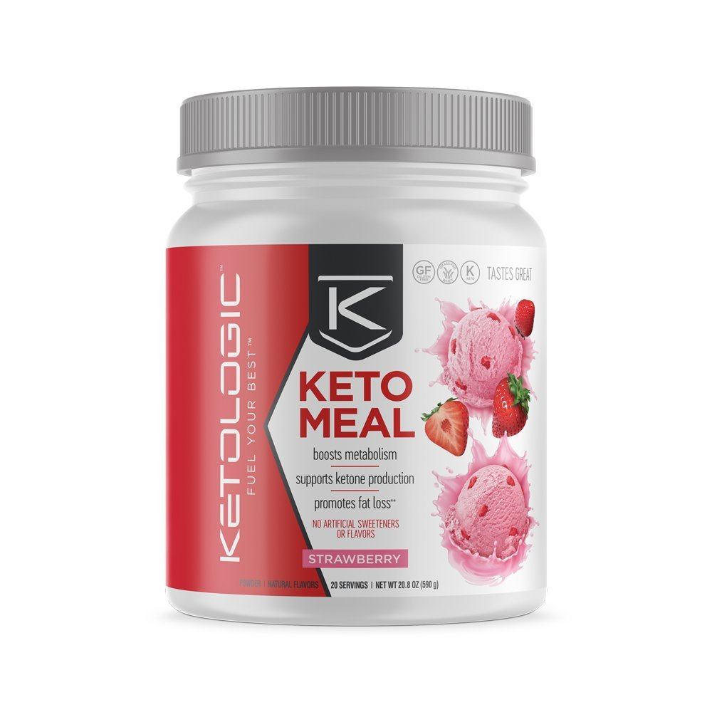 KetoLogic Keto Meal Replacement MCT Shake – Promotes Weight Loss/Suppresses Appetite/Low Carb – Strawberry, 20 Servings