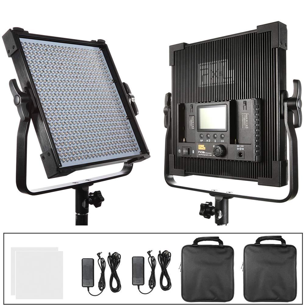 PIXEL Bi Color LEDビデオライト2個セットCRI96+ 600球 45W 調光可能 写真撮影ライト 3000K-8000K 19000Lux(0.5m場合) 内蔵2.4GHz 無線制御 電源アダプターとUブラケット及びキャリングケース付属 スタジオ撮影、YouTube、生放送、インタビュー、商品撮影、写真ビデオ撮影に適用 2個  B07MCTJJCD