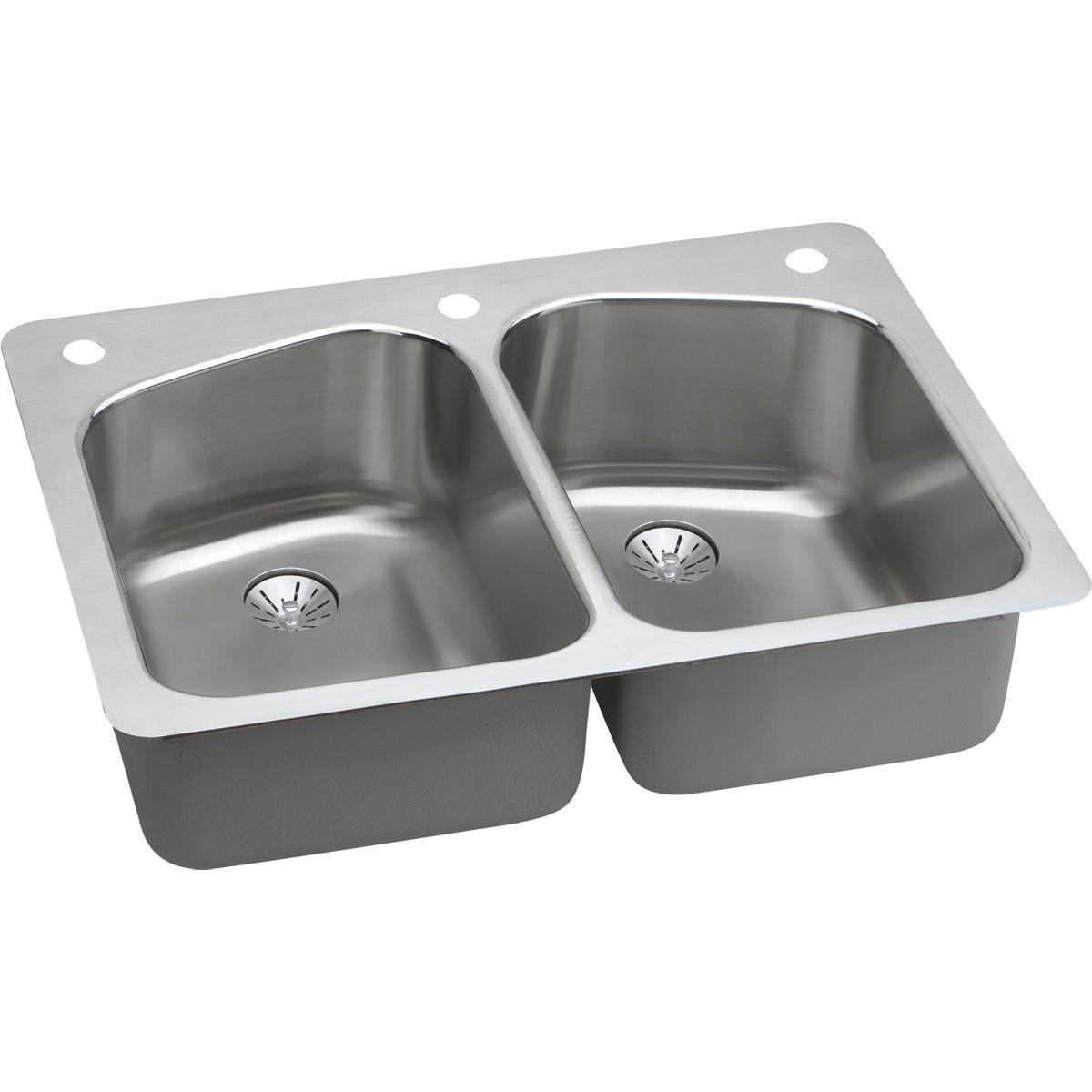 Elkay Lustertone LKHSR33229PD0 Equal Double Bowl Dual Mount Stainless Steel Sink with Perfect Drain