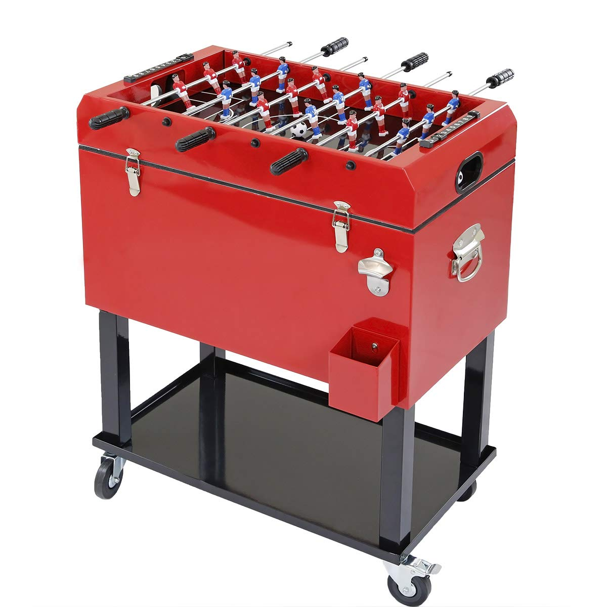 Clevr 68 Quart Qt Red Patio Cooler Ice Chest with Foosball Table Top, Portable Patio Party Bar Cold Drink Rolling Cart on Wheels with Tray Shelf,17 Gallon/ 65L Outdoor Rolling Beverage Cart by Clevr