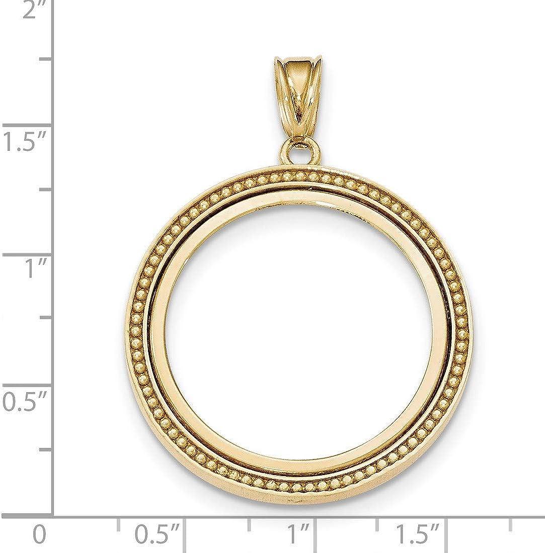 14K White Gold Polished Prong Set Bezel Coin Holder for 1//20 oz Panda Coin