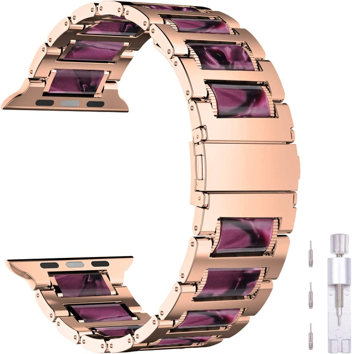 iiteeology Compatible with Apple Watch Band 40mm 38mm, Resin Stainless Steel Link Band Bracelet with Metal Buckle Strap for Apple Watch SE Series 6 Series 5 4 3 2 1 - Light Purple Resin + Rose Steel