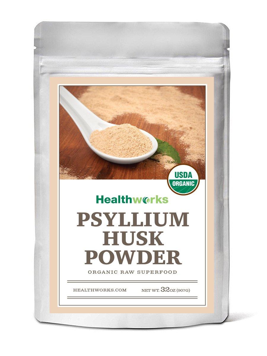 Healthworks Psyllium Husk Powder Raw Organic, 2lb