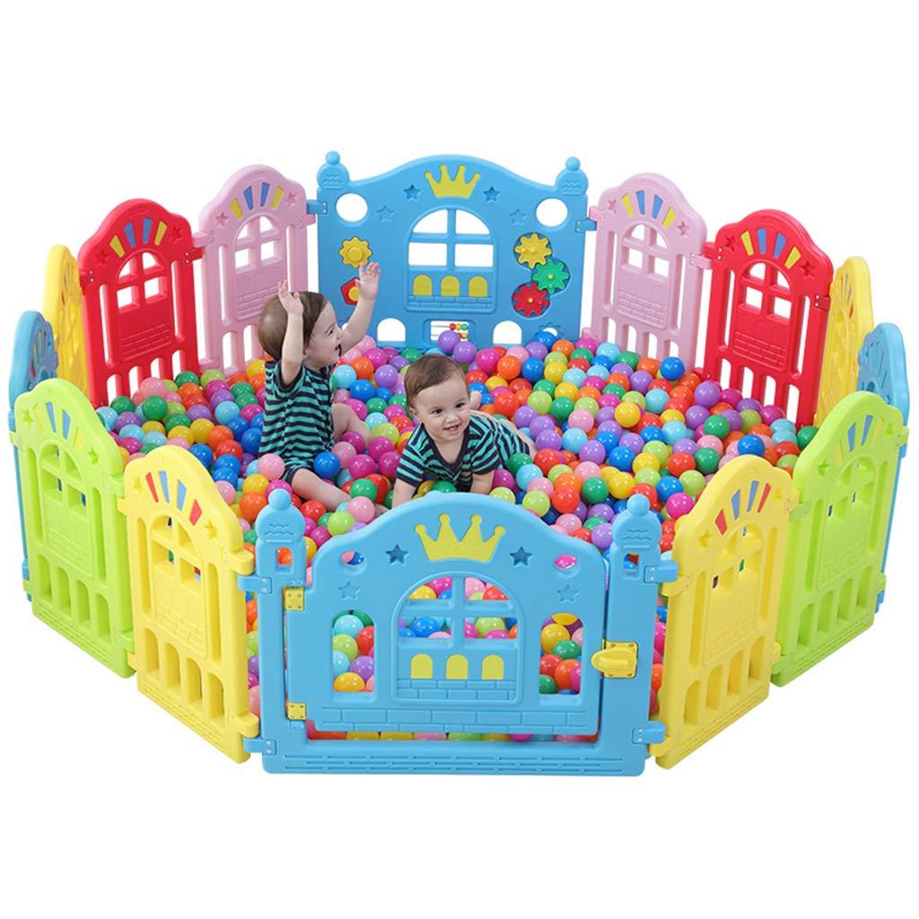 ベビーサークルプレイヤード 赤ちゃんフェンスベビーサークルキッズアクティビティセンター幼児安全遊び場ゲート家庭用粉々になりにくい耐性おもちゃ 75X112CM  B07SQW3FR4