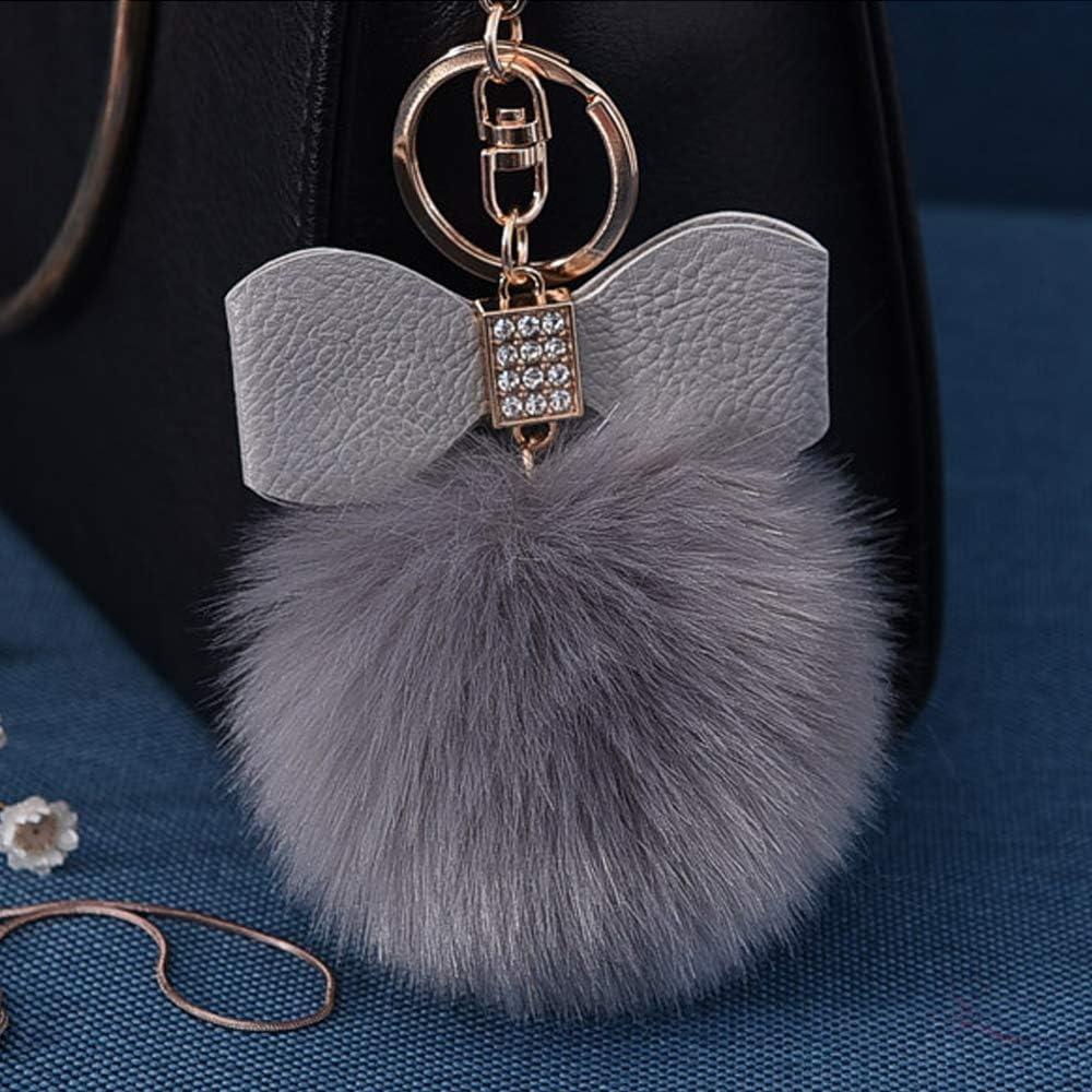 Fluffy Ball Key Chain 8-10cm Cute Keychain Bag Charm Ball Fur Key Chain for Car Key Ring