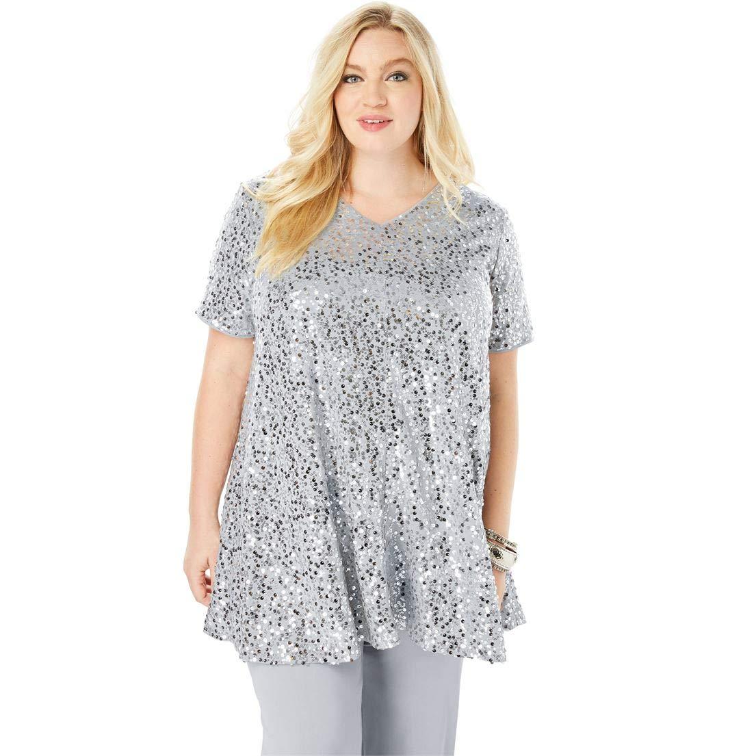 Roamans Women's Plus Size Trapeze Tunic & Pant Set with Sequin Embellishment - Silver Shimmer, 20 W