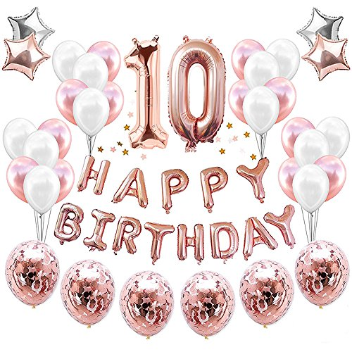HankRobot 10th Birthday Decorations Party Supplies(38pack)Rose Golden Number 10 Birthday Balloons Happy Birthday Balloon Banner Golden Rose Confetti Balloons Perfect Birthday Decorations for Her