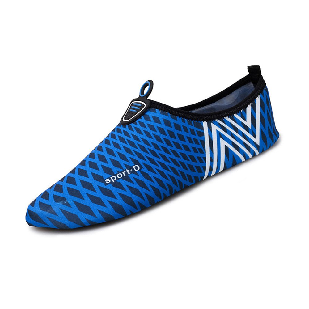 Humasol Men Women's Lightweight Quick-Dry Aqua Shoes Multifunctional Water Socks for Swim Beach Pool B073WT6VJJ US Women:12-13.5/ Men:10.5-12 (EU 43-44)|Check-Dark blue