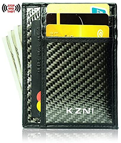 Carbon Fiber thin Credit id Card small money clip for men Slim Wallet with RFID (Military Grade Laptop Protector)