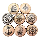 nautical cabinet knobs Set of 8 Old World Nautical Wood Cabinet Knobs (Set 1)