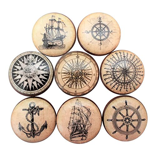 Set of 8 Old World Nautical Wood Cabinet Knobs (Set 1) ()