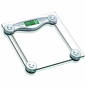 Camry Precision Digital Bathroom Scale Strong Tempered Glass Platform Measures in Pound or Kg, Silver