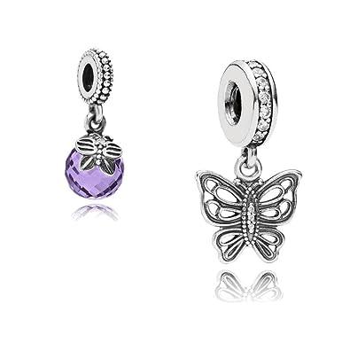 e81c9b785 Original Pandora gift set - 1 Vintage butterfly pendant charm 791255CZ and  1 Purple morning butterfly pendant charm 791258ACZ: Amazon.co.uk: Jewellery