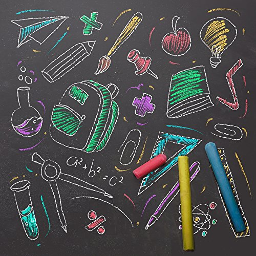 Emraw Eraser 12 White Chalk Dustless Chalk Non-Toxic 12 Color Chalkboard School Office and Sidewalk Outdoor Chalk Block Bundle for Art and Home Board Chalk with Eraser Pack of 25 by Emraw (Image #4)