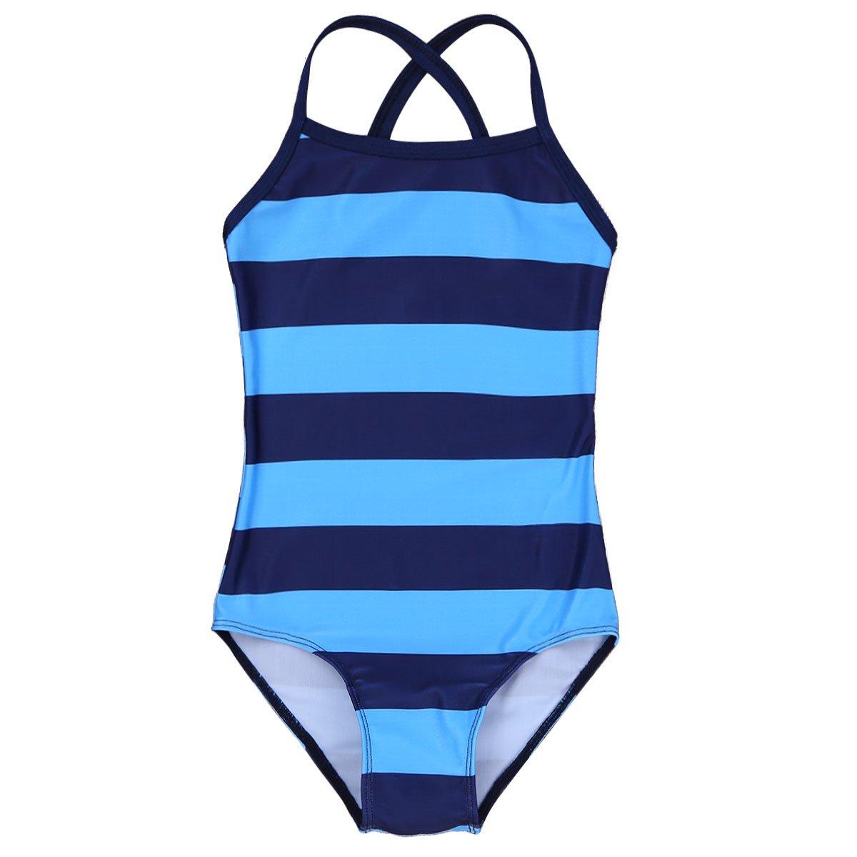 iixpin Kids Girls Striped Swimwear One Piece Criss Cross Back Swimsuit Spaghetti Shoulder Straps Bathing Suit