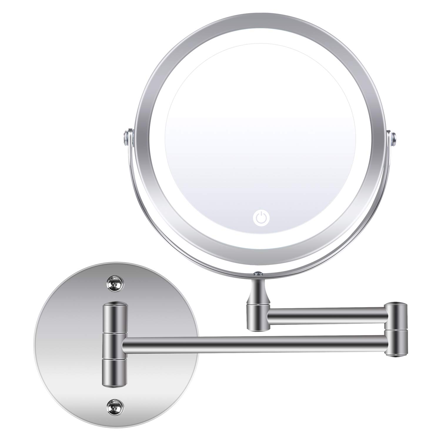 LED Lighted Makeup Mirror Wall Mount, 1X/10X Magnifying Vanity Mirror with Lights, Double Sided 360 Degree Rotation LED Vanity Mirror Lights, AC Adapter or Battery Operated
