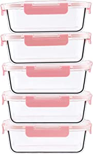 5-Pack Glass Food Storage Containers, 34 Oz Glass Meal Prep Container, Pink Bulk Food Storage, Airtight Lids LeakProof Safe Materials Storage Glassware Sets
