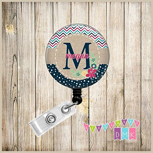 Monogram - Personalized - Multi Chevron & Polka Dots - Dark Pink and Navy Floral - Button Badge Reel