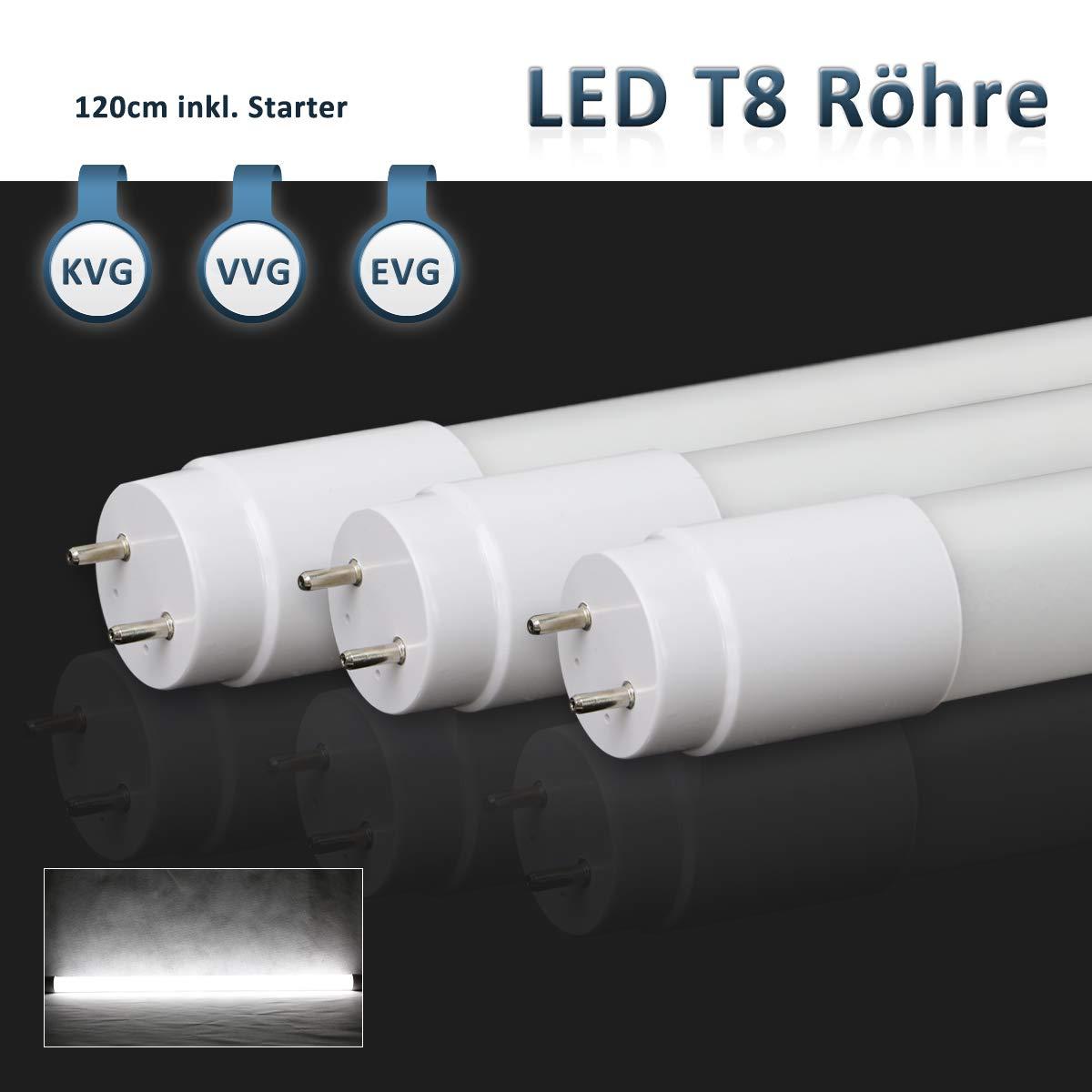 [10er PACK zum Sparpreis] SBARTAR LED Leuchtstoffröhre 120cm Kaltweiß 6500K 17W - Neonröhre 36 Watt - Ersatz für T8 Rasterleuchte Bürolampe Deckenleuchte/Leuchtstofflampe - 1960lm - inkl. Starter