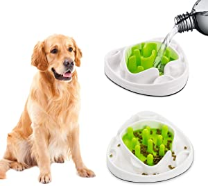 Interactive Food Maze Fun Slow Feeder Dog Bowl with 2 Interchangeable Mazes
