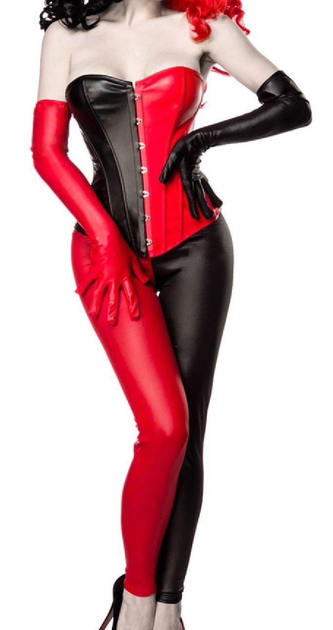 Damen Harlekin Corsage Kostüm Verkleidung mit Corsage, Leggings, Handschuhe in Lederoptik schwarz rot schulterfrei M