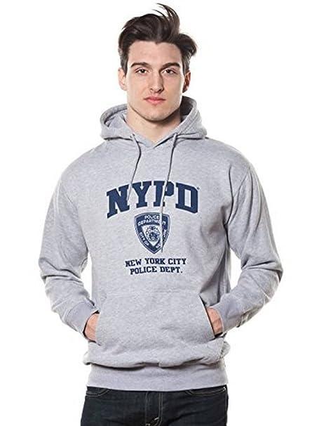 NYPD - Sudadera con capucha para adulto Oxford gris con estampado azul marino - Gris - Small: Amazon.es: Ropa y accesorios
