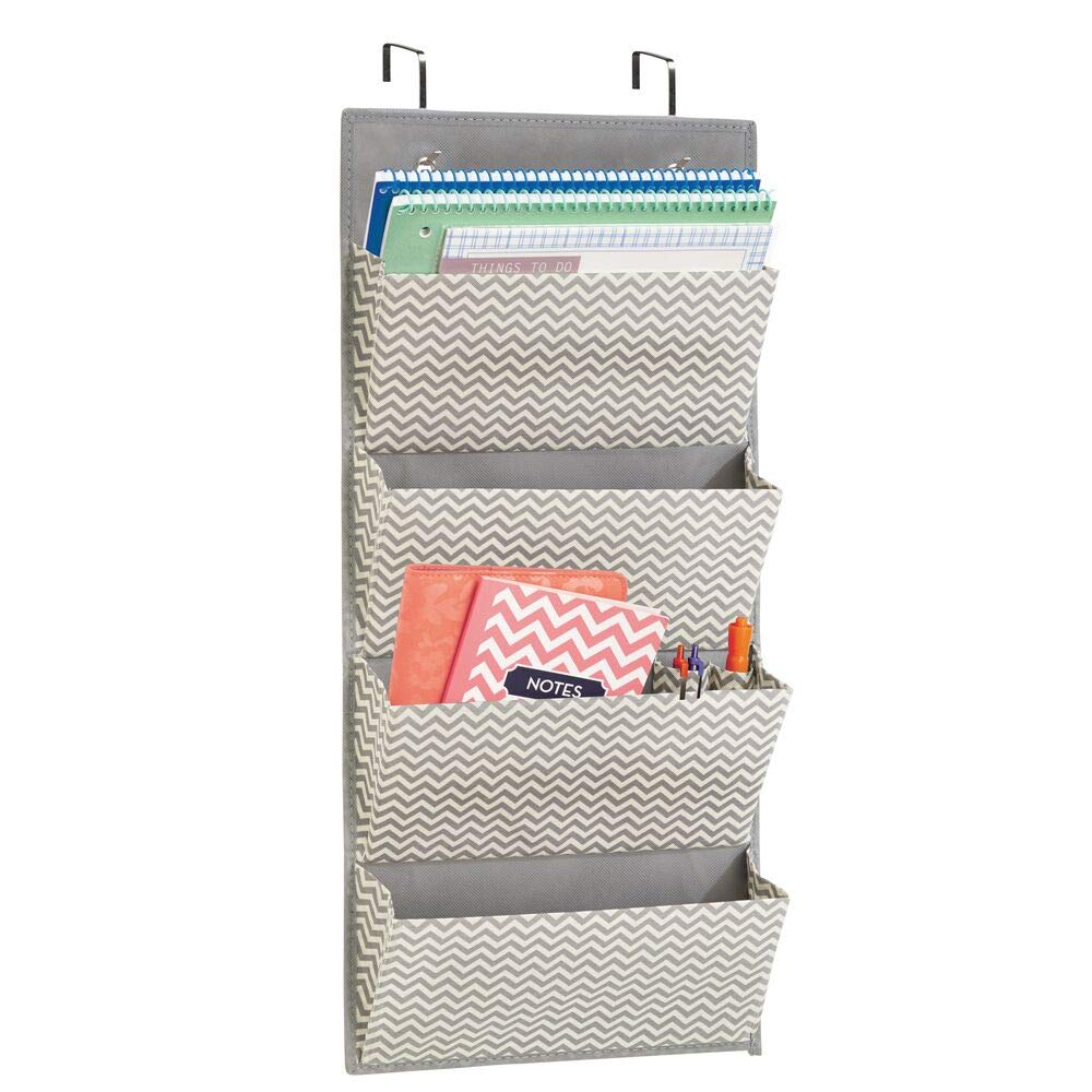 mDesign Over the Door Fabric Office Supplies Storage Organizer for Notebooks, Planners, File Folders - 4 Pockets, Taupe/Natural