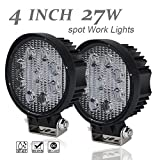 UNI 12V 24V 2Pcs 4 Inch ROUND Pods Cube Spot Driving Fog Lights OffRoad LED Work Light Headlight Reverse Backup Lamp for John Deere Rv Kubota Boat UTV 4Wheeler Golf Cart ATV Jeep 4X4 Trailer