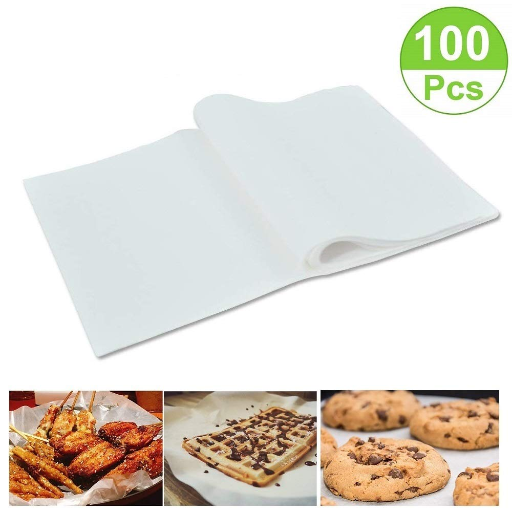 100 Pack Non-Stick Square Parchment Paper Baking Sheets Pre-Cut Parchment Baking Paper Liners, 8×12 inches,Cookie Baking Sheets,Hamburger Patty Paper