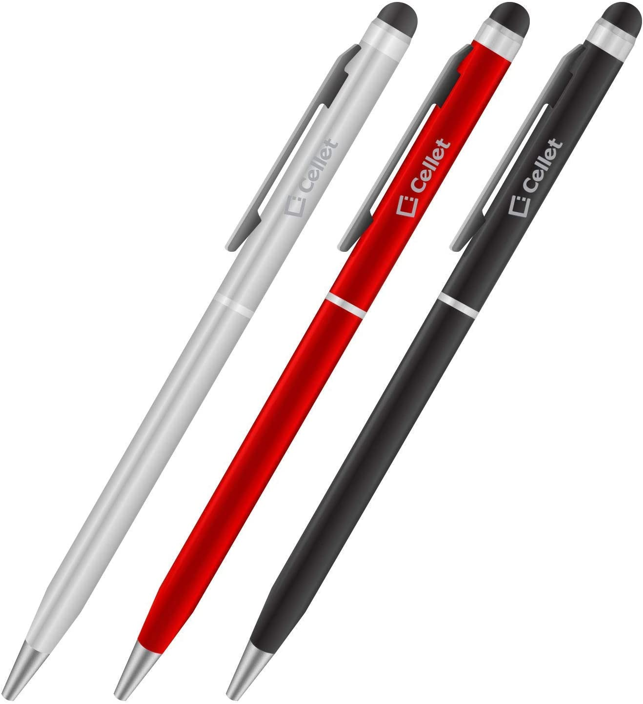 PRO Stylus Pen for Microsoft Surface Go with Ink, High Accuracy, Extra Sensitive, Compact Form for Touch Screens [3 Pack-Black-Red-Silver]