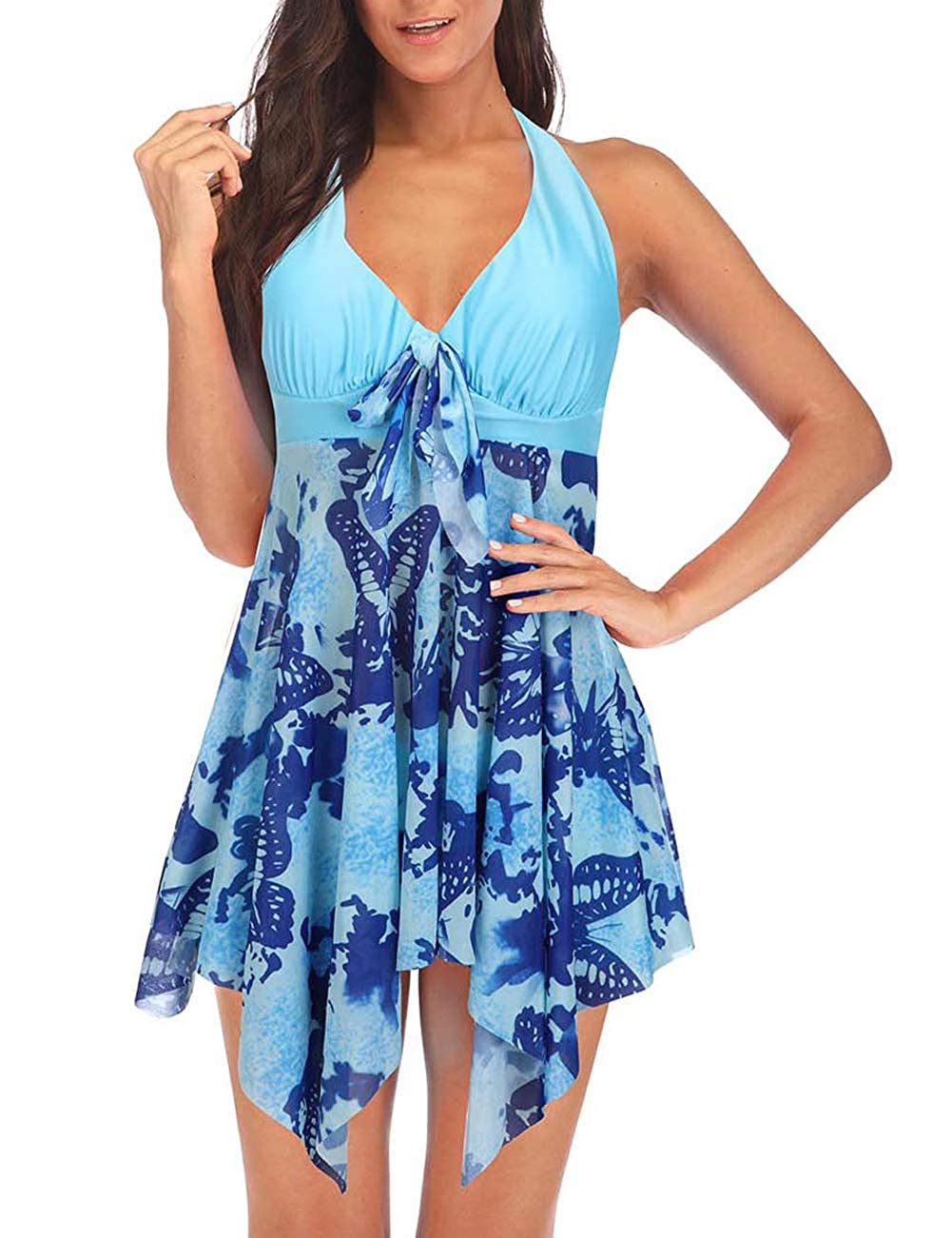 bluee DANALA Women's Two Piece Halter V Neck Plus Size Swimsuit Printed Tankini Sets Split Skirt Swimwear