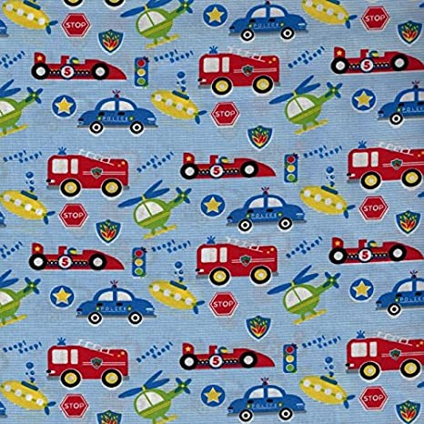 Children/'s Boys Black Motor Red Material Fabric Multicoloured Cars Polycotton