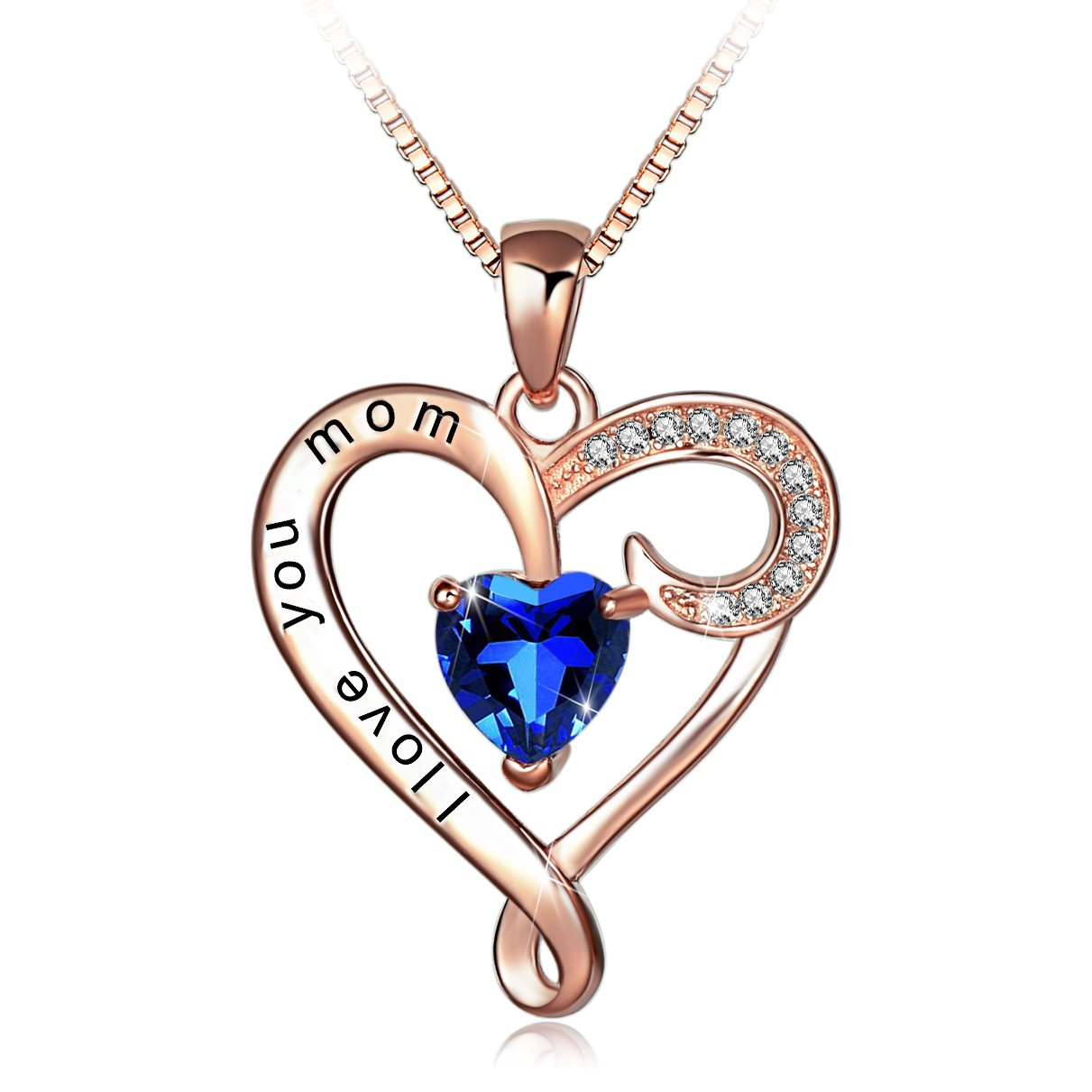 Mother's Birthday Gift I Love You Mom Rose Gold Plated Sterling Silver Heart Pendant Necklace for Women by Long Way (Image #1)