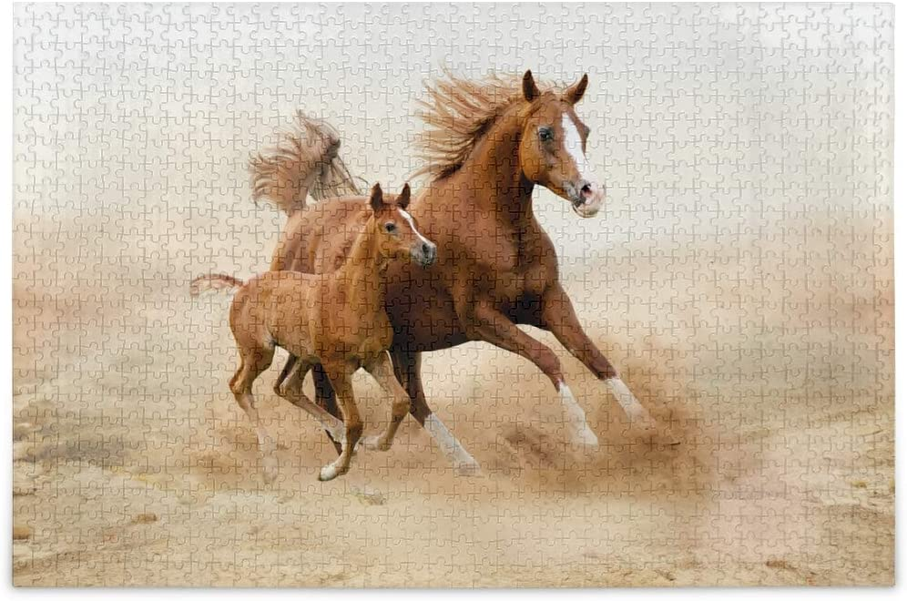 KEEPREAL 1000 Pieces Running Arabian Horse Jigsaw Puzzles for Adult - Kids Educational Learning Toy for Boys Girls - Home Decor - Childrens Teens DIY Intellective Game