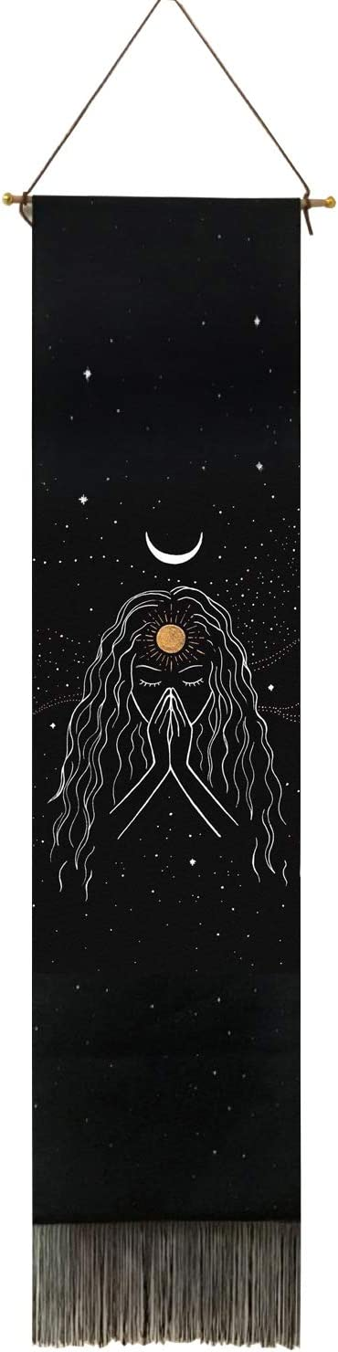 """Black and White Sun Moon Tapestry Wall Hanging for bedroom mountains nature landscape luxury tapestry (13"""" x 53"""") vertical black girl wall hangings decor"""