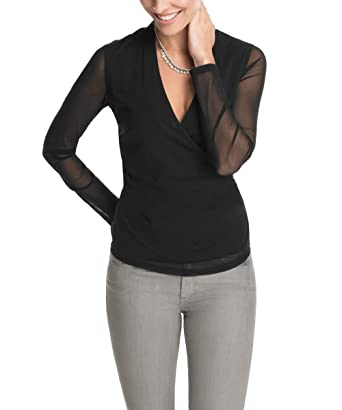 ESPRIT Collection Damen Langarmshirt mit Raffung, Einfarbig