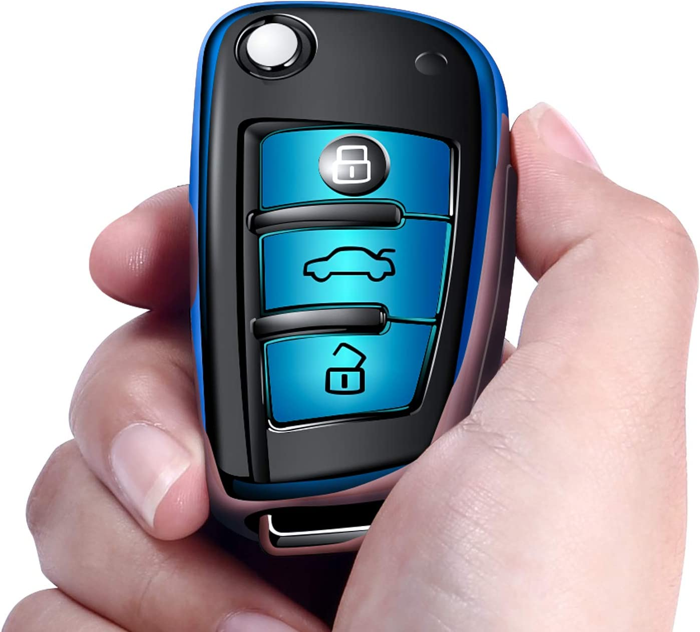 Blue Autophone for Audi Key Fob Cover Case Premium Soft TPU 360 Degree Entire Protection Key Shell Key Case Cover Compatible with Audi A1 A3 A6 Q2 Q3 Q7 TT TTS R8 S3 S6 RS3 Smart Key