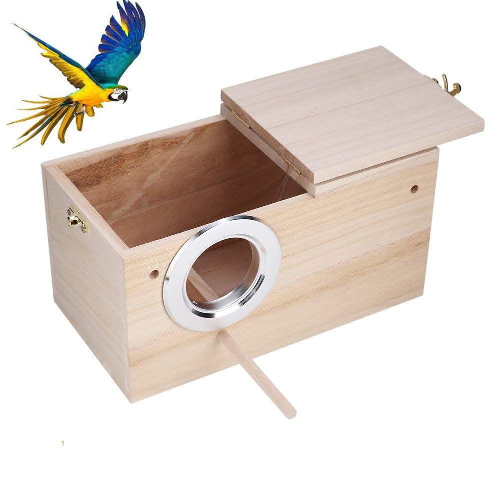 "Parakeet Nesting Box, Bird Nest Breeding Box Cage Wood House for Finch Lovebirds Cockatiel Budgie Conure Parrot, 8"" X 5…"