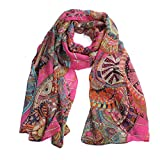 BESSKY-Fashion-Women-Girl-Chiffon-Printed-Silk-Long-Soft-ScarfHot-Pink