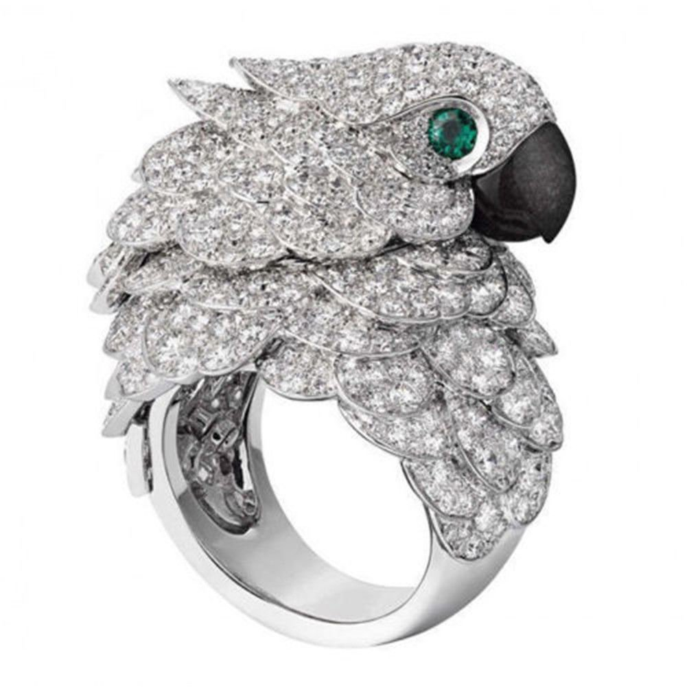 Meenanoom 925 Silver Ring Animal Parrot 8.6CT White Topaz Emerald Wedding Cocktail Sz 6-10 (8)